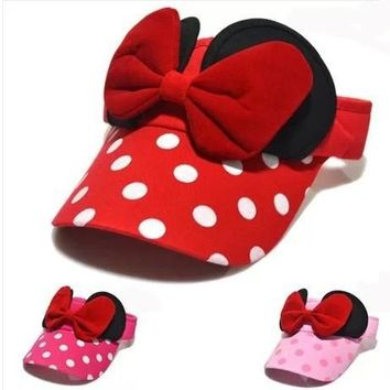 New Style Summer Korean Version Lovely Sun Hat Kids Polka Dot Big Bow Empty Top Hat Baby Boys&Girls Caps