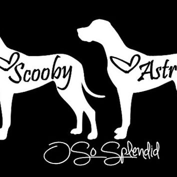 Great Dane Car Decals - Cropped Ears or Natural Ears Silhouette - Personalized Dog - You choose color & custom text
