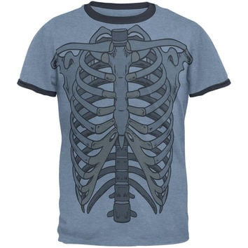 Rib Cage All Over Heather Blue-Navy Men's Ringer T-Shirt