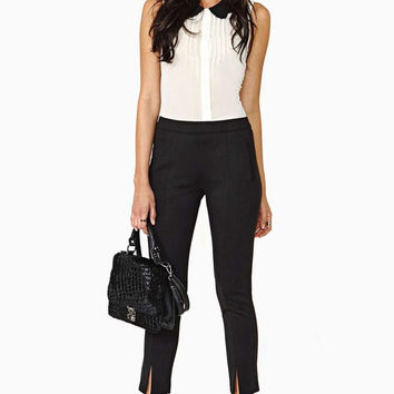 Pencil Pants High Street Zipper Split Black Capri Pants Elastic Novelty Skinny Women = 1876538180