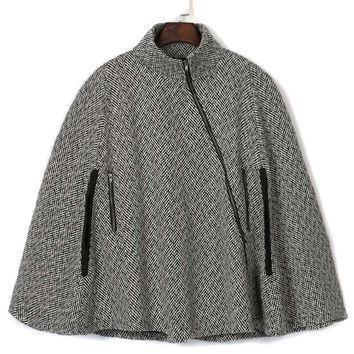 Gray Stand Collar Asymmetric Zipper Front Cape Coat