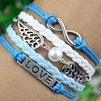 Dark blue light blue - white leather cord bracelet - unique silver wings - infinity - LOVE bracelet, present for girlfriend and BFF