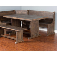 Plank Style table top Homestead Breakfast Nook with Bench and storage