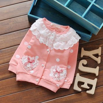 2017 Children Girl Spring Cardigan Cotton Long Sleeved Coat Lace O Neck Flower Printed Jackets Autumn Dot Outerwear 0-3 Years