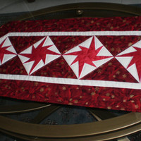 Holiday Table Runner Eight Pointed Stars Traditional Quilted Home Decor