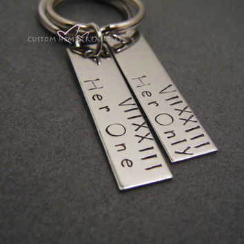 Her One His Only, Couples Keychains, Roman Numerals Date, Anniversary Date, Personalized Keychains, Rectangle Keychains, Stamped Keychains
