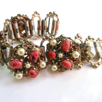Coral Art Glass Bracelet, Victorian Revival, Glass Pearls, Book Chain, Vintage