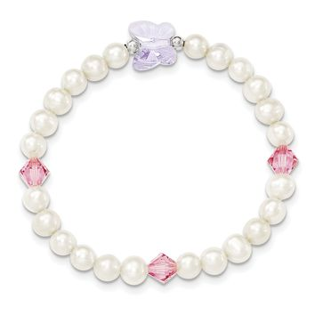 Sterling Silver Freshwater Pearl Crystal Butterfly and Beads Stretch Bracelet