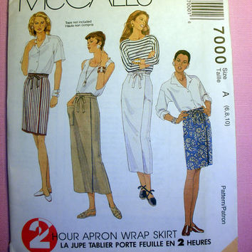 Women's Apron Wrap Skirt Misses' Size 6, 8, 10 McCall's 7000 Sewing Pattern Uncut