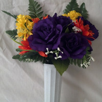 Mausoleum Flower Arrangement with Purple Roses and Daisies