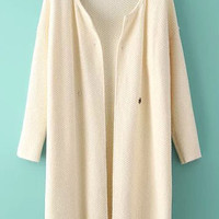 Beige Knitted Loose Fitting Cardigan