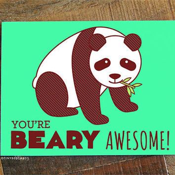Love or Friendship Card, You're Beary Awesome! - Panda pun card, cute panda bear, thank you card, funny love card, funny card for friend