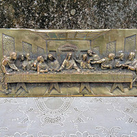 Vintage Last Supper Bronzed Bas Relief resiResin Plaque