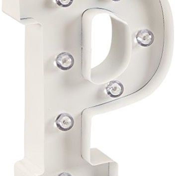 Darice Metal Letter P Marquee Light Up, White