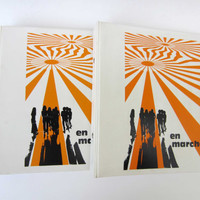 1970s BINDERS 2-rings⎮French vintage⎮orange white & black⎮Op Art space age⎮set of 2