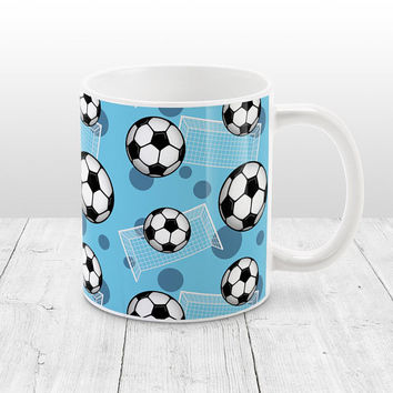 Blue Soccer Mug - Sports Pattern with Soccer Balls and Goals over Blue, Soccer Ball Mug - 11oz or 15oz - Made to Order