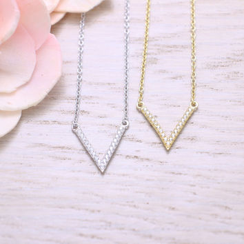 925 sterling silver cubic zirconia chevron necklace in gold, silver