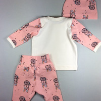 Baby girl coming home outfit Organic baby coming home outfit Newborn girl clothing set