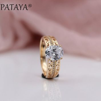 PATAYA New Delicate Noble 585 Rose Gold 4 Colors Oval Natural Zircon Rings Women Wedding Party Fine Fashion Romantic Jewelry