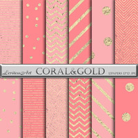 Digital Paper Coral and Gold Foil confetti Stripes & Chevron digital background for scrapbooking,invites,cards,web design,Instant Download