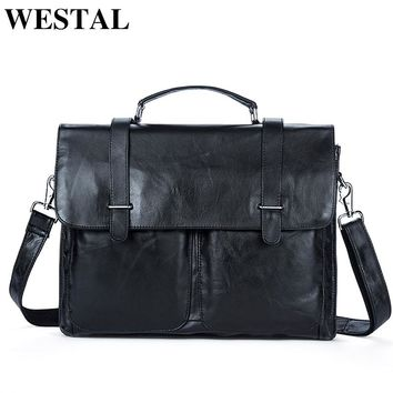 WESTAL Genuine Leather Men Bag Mens Leather Bag for Work Men Briefcases Handbags Totes Large Shoulder Bags Briefcase Laptop Bags