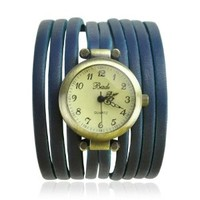 BADE Unisex Multi Silm PU Leather Stripes Wrap Watch Color Blue