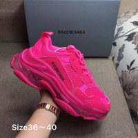 Rose Red Balenciaga Triple-S Sneaker Casual Shoes Clunky Sneakers