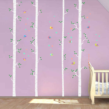 Birch decals trees wall decals Birds wall decals decals Woodland wall decals for Nursery foliage Wall Decals kids wall decal kcik1782