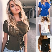 Fashion Strappy Tight Scoop Neck Long Sleeve Shirt Top Tee