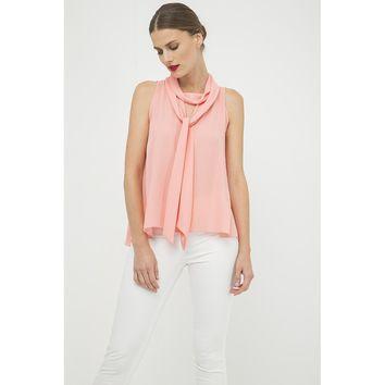 Peach Tie Neck Sleeveless Top