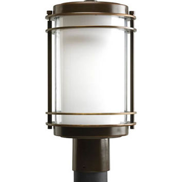 Progress Lighting P5472--108 Penfield Oil Rubbed Bronze One-Light Outdoor Post Lantern with Clear and White Opal Glass Cylinder