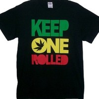 Keep One Rolled Weed Smokers T Shirt Black