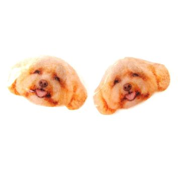 Realistic Toy Poodle Head Shaped Animal Dog Breed Resin Stud Earrings | Made To Order | Handmade