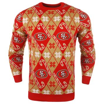 San Francisco 49Ers - Mens Official NFL Candy Cane Repeat Crew Neck Sweater