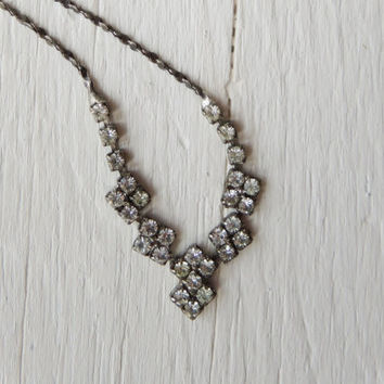 1950's Rhinestone Necklace / Petite Necklace by littleedenvintage