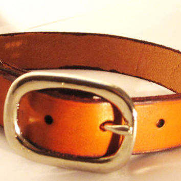 "Leather Dog Collar 3/4"" wide, Antique Tan Dog Collar, Leather Dog Collars"
