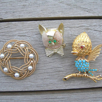 Vintage Brooch Lot of 3, Furry Cat Face, Goldtone Bird on Branch, Faux Pearl Golden Wreath, Figural Costume Jewelry Pins