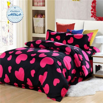 Love Heart bedding sets 3pcs/4pcs twin full queen star starry sky duvet cover set bedclothes polka dot red black yellow #2
