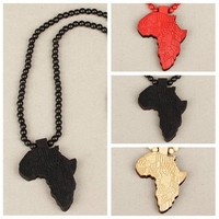 Africa Map Wooden Rosary Bead Pendant Necklace Sweater Chain [8081668807]