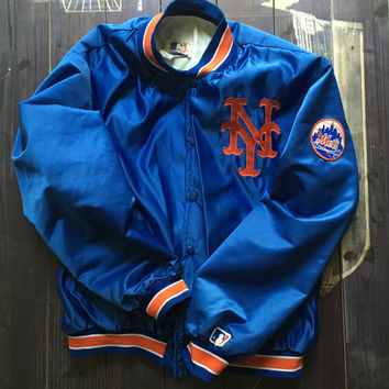 Vintage NY Mets Jacket ~ 80s Blue and Orange Major League Baseball Coat Nylon