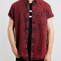 Red Grunge Denim short sleeve Shirt - Topman