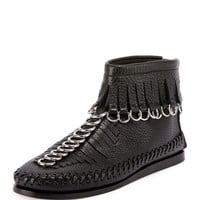 Alexander Wang Montana Pebbled Leather Moccasin Bootie, Black