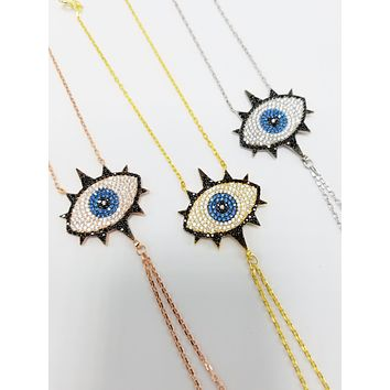 Evil Eye with Eyelash Slave Bracelet Adjustable Hand Chain| 925 Sterling Silver
