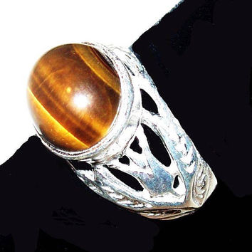 Tiger Eye Stone Ring Signed 925 Sterling Silver Ladies Sz 6 NOS Vintage