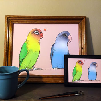 Lovebirds of a different color | color print from original pencil drawing | adorable tiny little bird hearts in love | cute as all get out