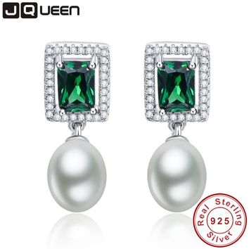 Emerald Fine Jewelry 925 sterling silver earrings Simulated Pearl Drop Earrings Brincos Boucle Oreille from india Free Gift Box