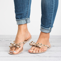 Bow Studded Jelly Sandals - Nude