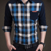 Blue Checked One Pocket Labeling Long Sleeve Shirt