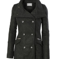 LE3NO Womens Stand Collar Military Pea Coat Jacket with Pockets (CLEARANCE)