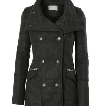 5e94b3e4127 LE3NO Womens Stand Collar Military Pea Coat Jacket with Pockets (CLEARANCE)